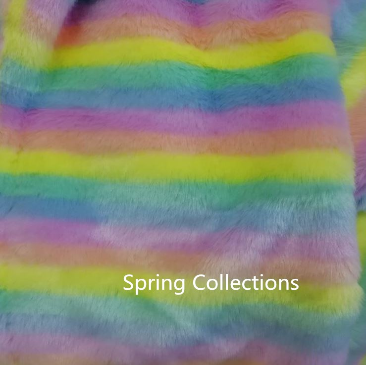 160cm*91cm 15mm hair rainbow color ,Plush carpet mats fabric,DIY handmade faux fur fabric soft-in Fur from Home & Garden    1