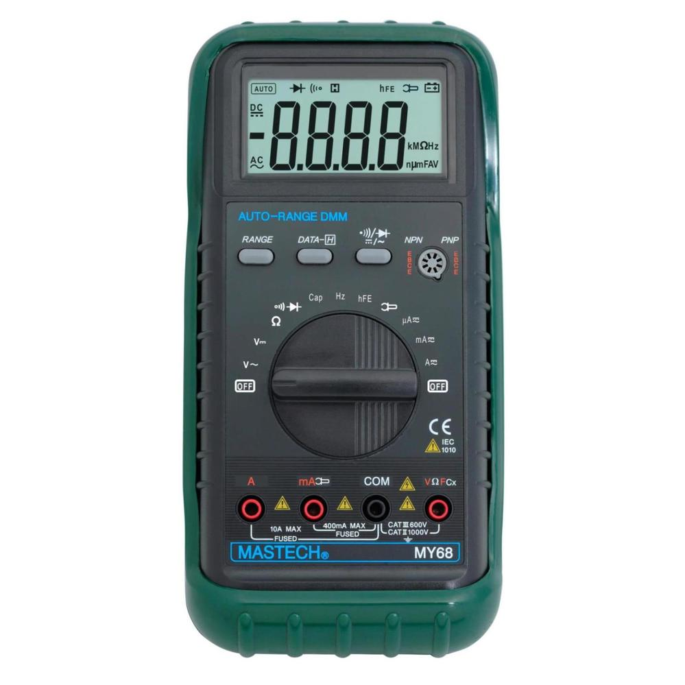 MASTECH MY68 Handheld LCD Auto Range DMM Digital Multimeter DC AC Voltage Current Ohm Capacitance Frequency Meter bside adm02 digital multimeter handheld auto range multifunction dmm dc ac voltage current temperature meters multitester