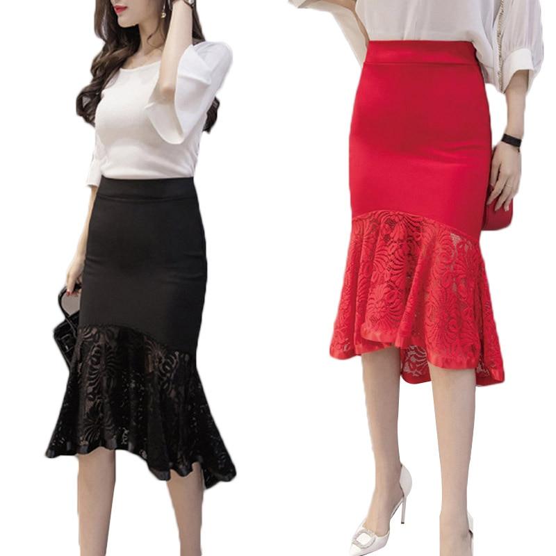 Sexy Women Pencil Skirt OL Slim Bodycon Skirt Lace Ruffles Hem Mermaid Office Wear Skirts H9