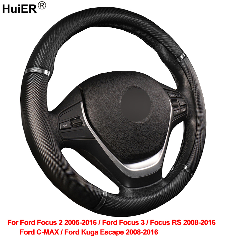 HuiER Car Steering Wheel Cover For Ford Kuga Escape C-MAX Focus 2 / 3 / RS 2008- 2013 2014 2015 2016 Braid on the Steering Wheel