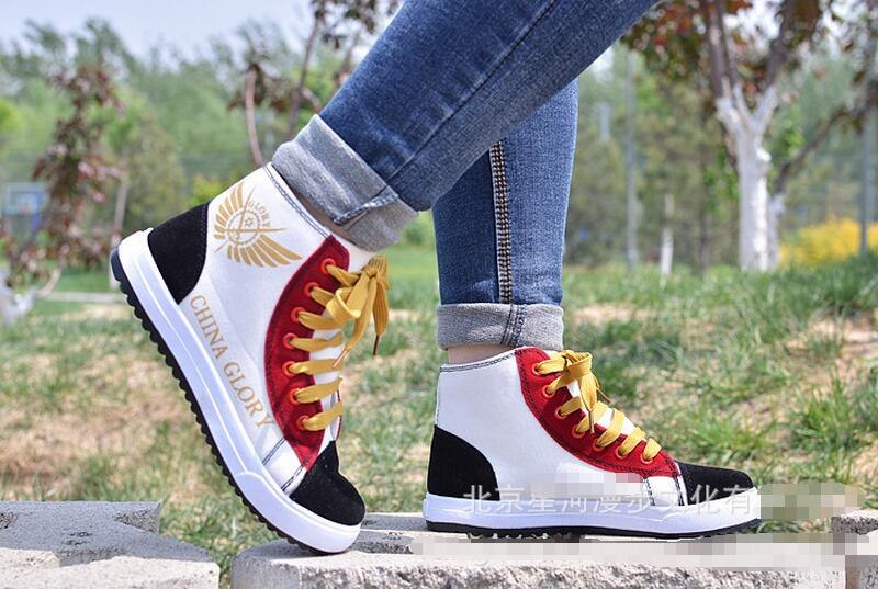 ФОТО Anime Gintama Silver Soul Lace Up Ankle Shoes 2017 New Printed Unisex Men Cosplay Shoes Free Shipping