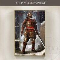 Wall Art Hand painted Japanese Samurai Swordsmen Figure Oil Painting on Canvas Hand painted Wall Art Samurai Swordsmen Painting