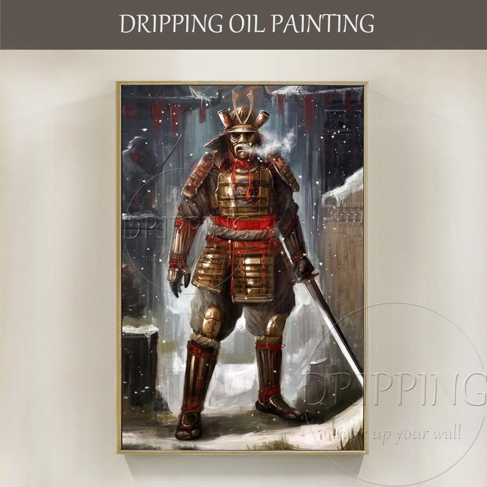 Arte da parede pintados à Mão-de Samurai Japonês Swordsmen Figura Pintura A Óleo sobre Tela Mão-pintada Da Parede Da Arte Samurai Espadachins pintura