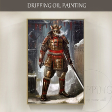 Wall Art Hand-painted Japanese Samurai Swordsmen Figure Oil Painting on Canvas