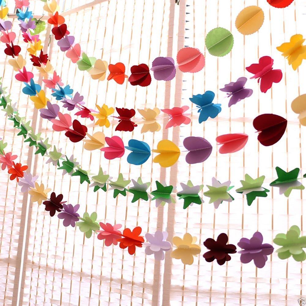 Hanging paper garland heart star String wedding party Birthday Baby shower Decor Paper Banner Room Door Curtain Decoration 3D