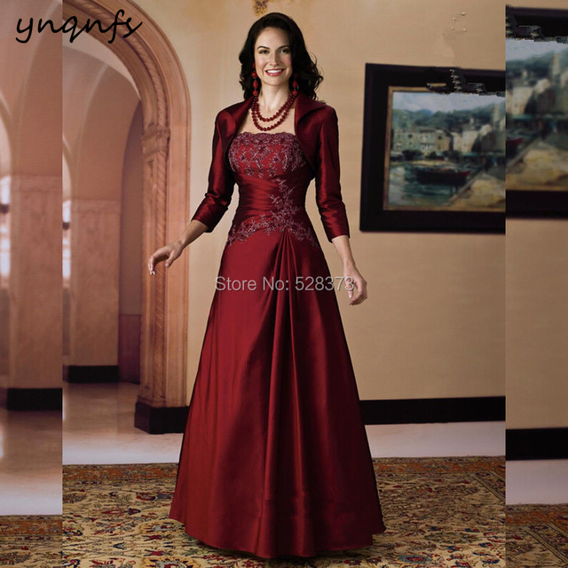 YNQNFS 2 Piece Burgundy Mother of the Bride Dresses with Jacket Bolero 3 4  Long Sleeve Groom Outfits Vintage Elegant 2019 MD300 333f8576d603