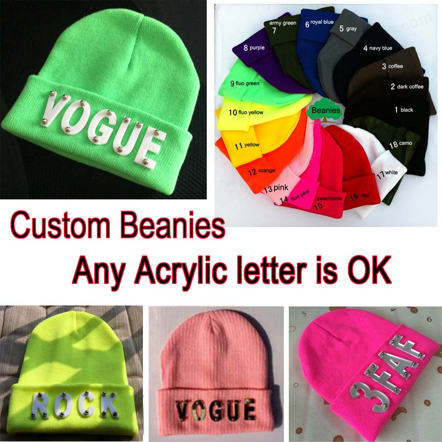 f7da354e424a7 Custom Acrylic Beanie High Elastic Adult And Kids Size Winter Candy color Hats  Customized Beanies Cap Warm Beanie Hip Hop