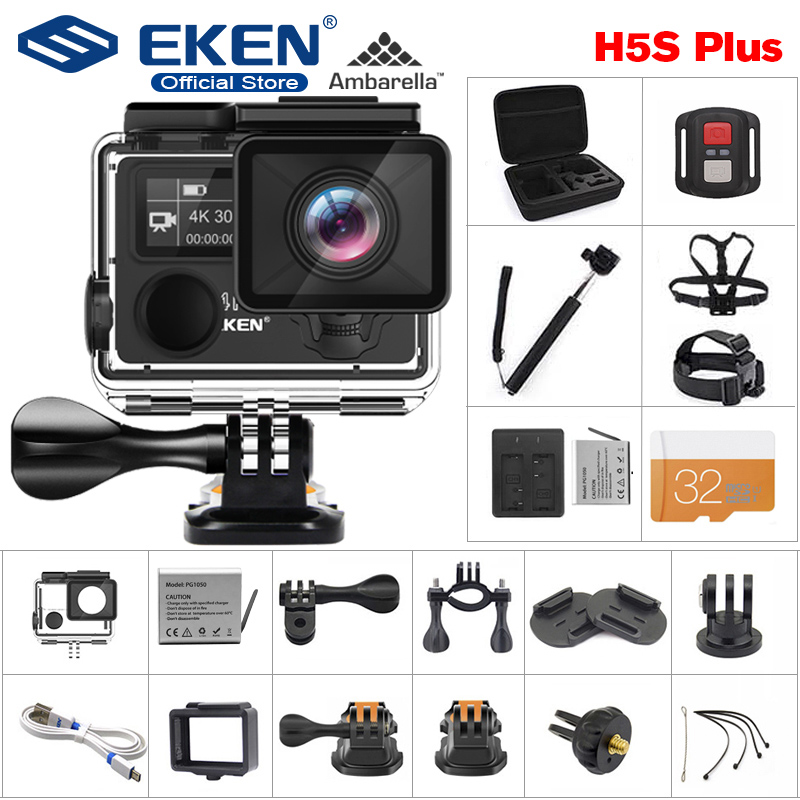EKEN H5S Plus Câmera de Ação HD EIS 4 K 30fps com Ambarella chip dentro 30 A12 m à prova d' água 2.0' tela sensível ao toque câmera esporte