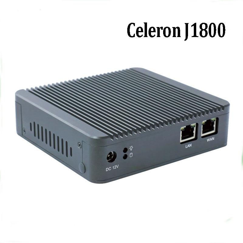 Newest Mini PC Computer Celeron J1800 2.41GHz Dual Lan Industrial PC Thin Client No Fan Design Micro PC 1*VGA 2*NIC Windows7 OS