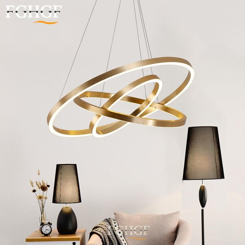 Led 3 Ring Chandelier: 3 Ring LED Chandelier Light Golden Ring Circle Lighting