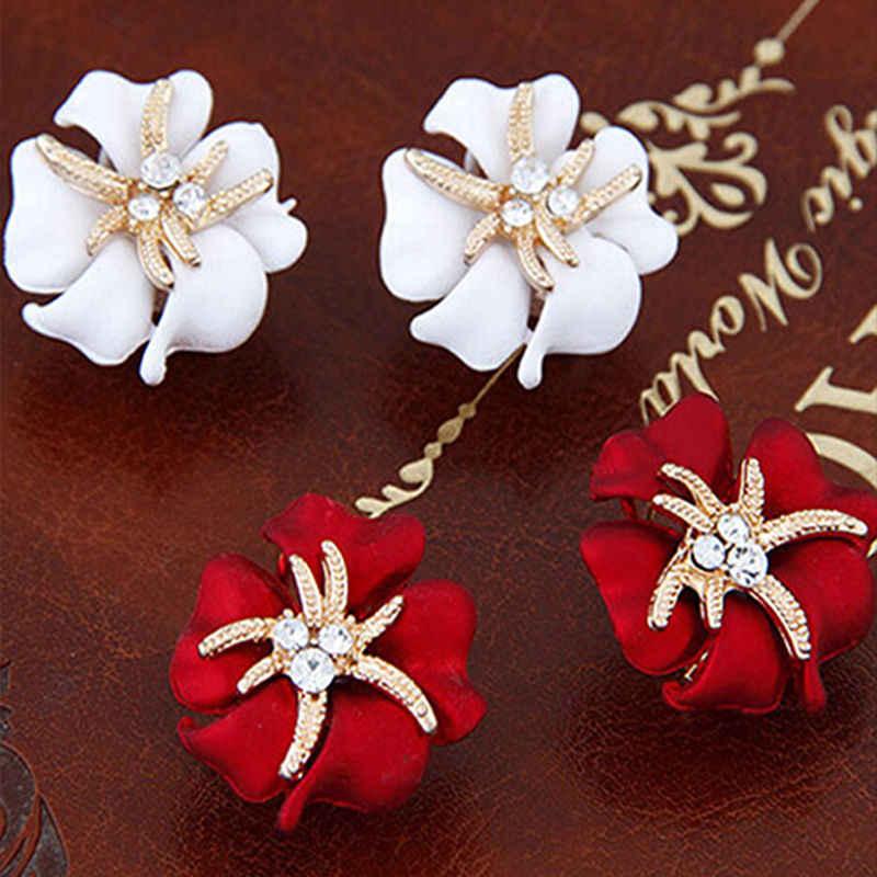 1 para sprzedaż koreański moda kryształowe kolczyki nowa biżuteria kwiat rozgwiazda damska biżuteria boucles d'oreilles wlać les femmes