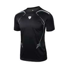 2018  Man Sport Soild Colors Fitness Shirt T-shirt Running Breathable Quick-Drying Stretch Tops T-shirt Cool Gym Clothing