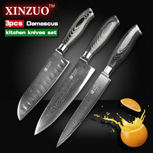 3 pcs kitchen knife set Japanese 73 layer Damascus kitchen knife Japanese VG10 chef cleaver knife wood handle free shipping