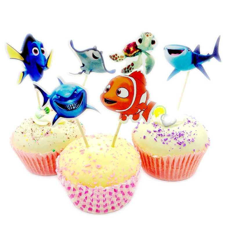 24 قطعة/الوحدة لطيف الكرتون الأسماك قاع البحر الحوت القرش الأخطبوط قطاعات الكيك يختار الاطفال الطفل عيد ميلاد حزب كعكة لوازم الديكور