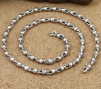 4,5 мм толщиной череп ссылка Серебряное колье цепочка Винтаж стерлингового серебра 925 ювелирные изделия