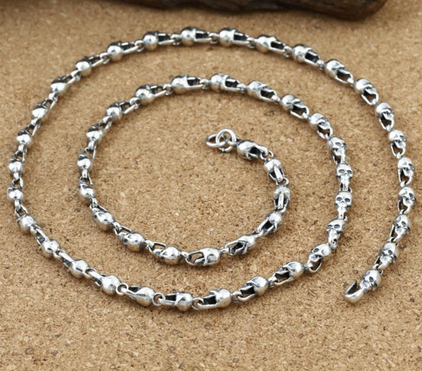4.5mm thick skull link chain silver necklace vintage sterling 925 silver jewelry 6mm thick weave twist cross link chain necklace pure sterling 925 silver jewelry