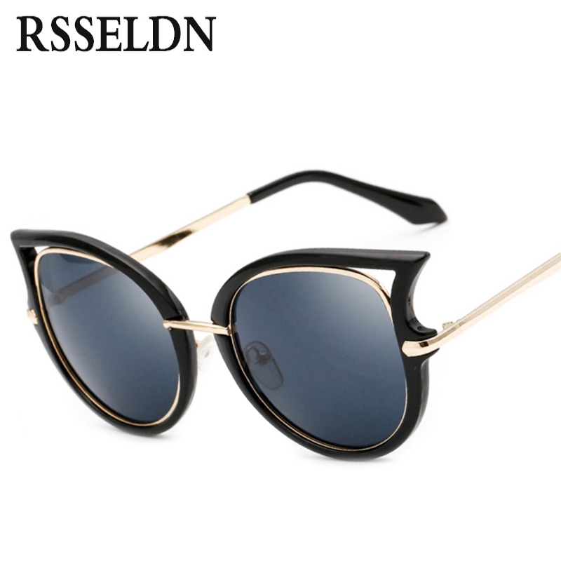 99fa5b36c1d8e8 RSSELDN Mode Rétro En Métal Cadre Cat Eye Sunglasses Femmes Marque Vintage  Revêtement lunettes de Soleil des Femmes oculos de sol feminino UV400