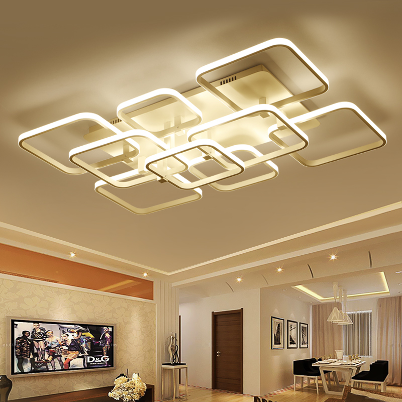 Square Circel Rings Chandelier For Living Room Bedroom Home AC85-265V Modern Led Ceiling Chandelier Lamp Fixtures Free Shipping black or white rectangle living room bedroom modern led ceiling lights white color square rings study room ceiling lamp fixtures