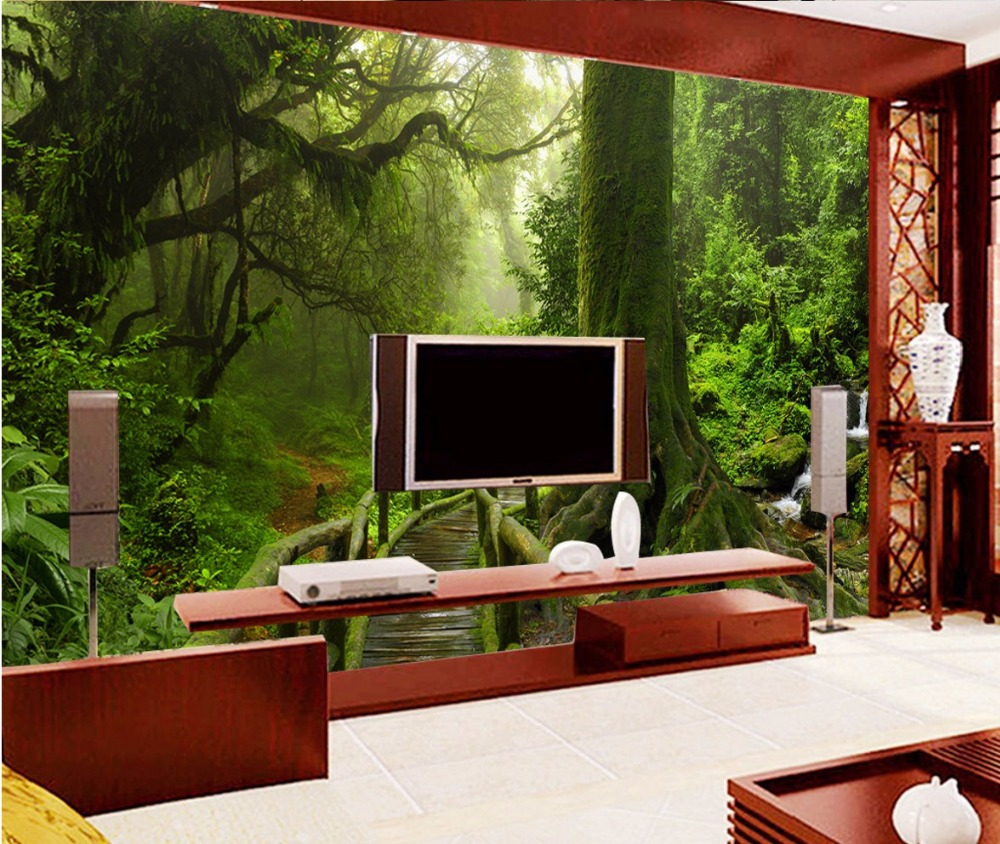 Custom Room Wallpaper Landscape Green Tree Tropical Rain