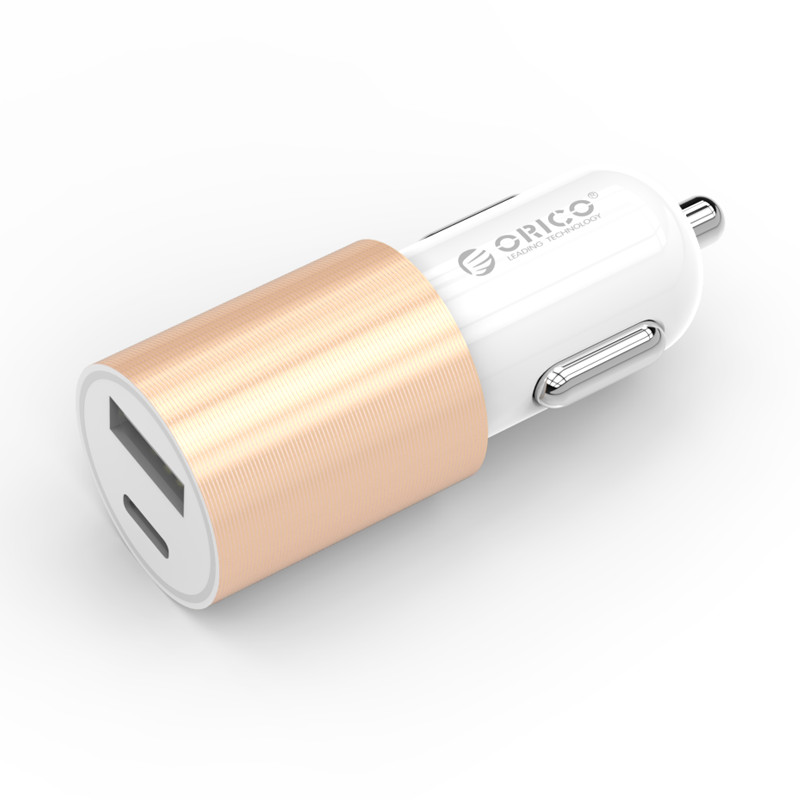 ORICO UCF Car Charger Type-C+USB-A Two Ports Cigarette Lighter Wide Voltage Travel
