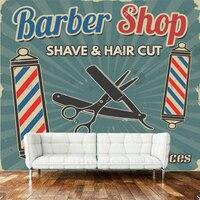 3D retro wallpaper, barber shop murals for the living room sofa barber shop background wallpaper PVC papel de parede
