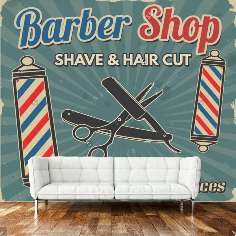 3D Retro Wallpaper, Barber Shop Murals For The Living Room Sofa Barber Shop Background Wallpaper PVC Papel De Parede