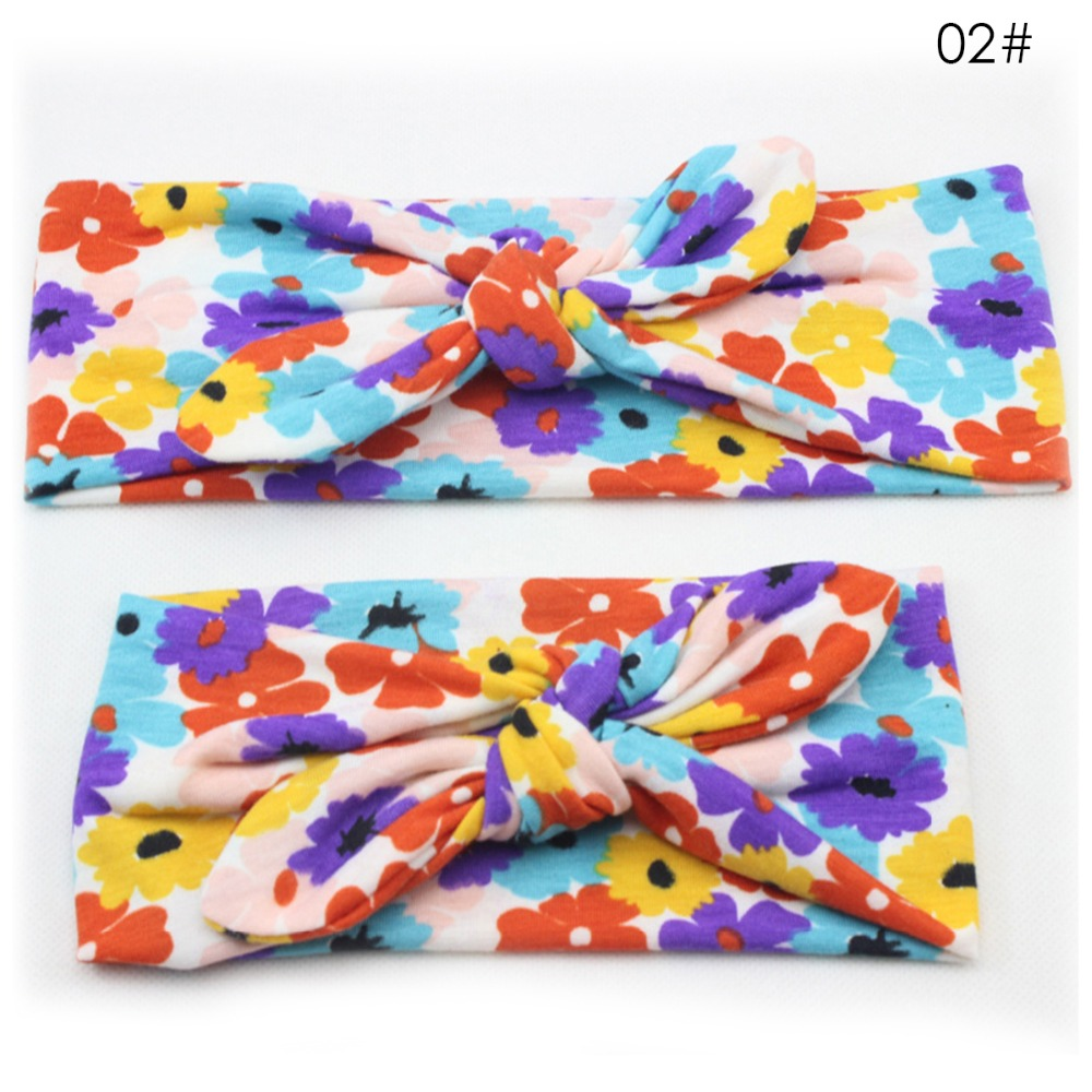 2Pc Set Mum baby Mother Daughter Rabbit Ears Bowknot Hair Band Matching Elastic Headband Floral Turban Knot Accessories Headwear in Hair Accessories from Mother Kids