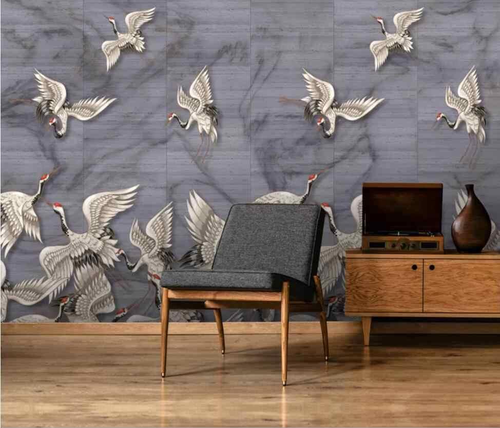 新中国の手塗装瑞雲クレーン白クレーン古典的なテレビ背景の壁の装飾壁紙壁画 壁紙 Aliexpress