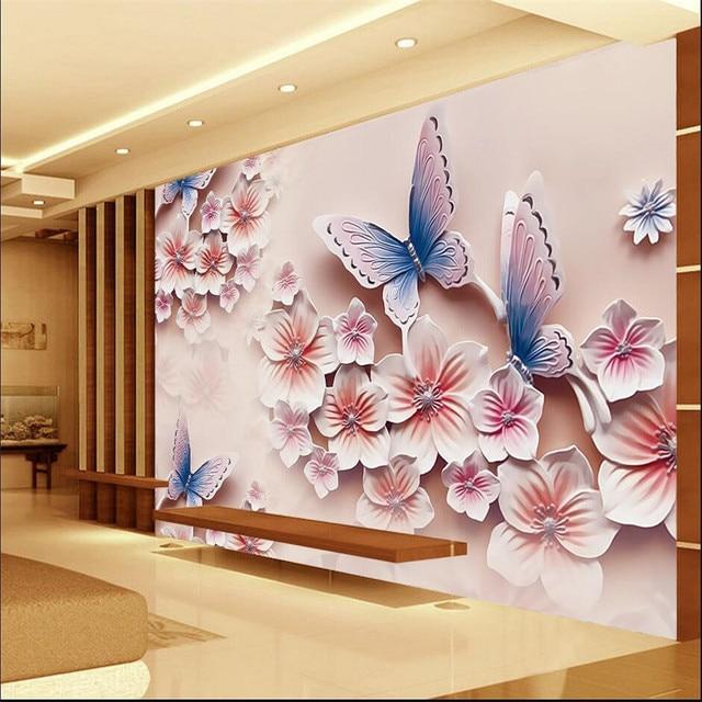 3D Photo Wallpaper Relief Murals TV Backdrop Romantic Butterfly Orchid  Flowers 3D Large Wall Mural Wallpaper Part 43