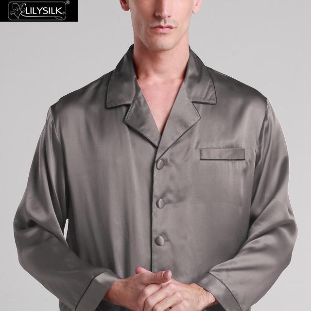 Lilysilk 100% Naturaleza Sueño Superior para Los Hombres Homewear ropa de Dormir Ropa de Dormir 19 Momme Seda Pura Camisa XXL Gris Oscuro