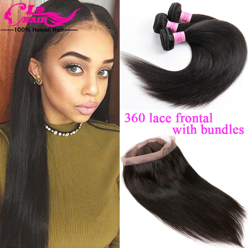 Thick 360 Lace Frontal With Bundles 7a Brazilian Straight Virgin Hair With Frontal Closure Pre Plucked 360 Frontal With Bundles