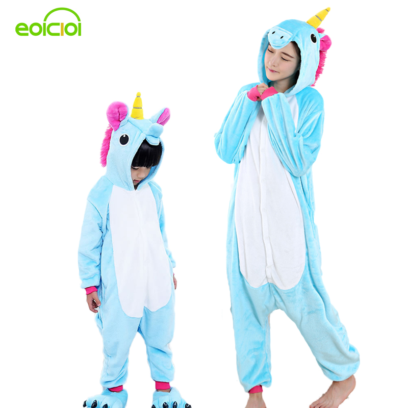 EOICIOI Mother & kids pajamas for girls onesie Animal Unicorn children`s sleepwear Women winter Hooded family matching outfits