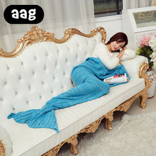 Audlt Kids baby Girl Mermaid Tail Blanket Handmade wool Yarn Knitted Crochet Mermaid Tail Soft Bed Sleeping Wrap Throw Blanket