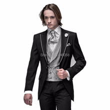 2016 Groom Tuxedos Black Peaked Lapel Groomsmen Best Man Suit Men Wedding Suits Prom/Bridegroom Suit Jacket+Pant+Tie+Vest