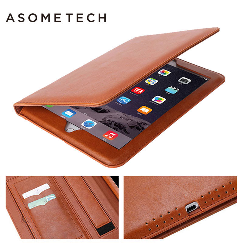 Ultra soft PU leather portfolio case For ipad pro 9.7 10.5 12.9 Retro Magnetic sleep/wake Hand strap Holder Stand Flip tab Funda case for funda ipad pro 12 9 luxury business leather case tablet 12 9 inch wake up hand belt holder stand flip bags alabasta