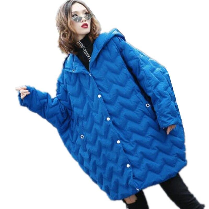 Capuche Coton Taille souris Black Manches Rembourré Chauve Chaud Super Femmes Manteau Veste D'hiver À Couleur G886 Graisse Vers Solide Le blue Lâche Mm Bas qaSBnndE0