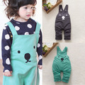 New Arrivals Baby Boy Girls Toddler Bib Pants Overalls Bear Print Harem Pants Long Trousers