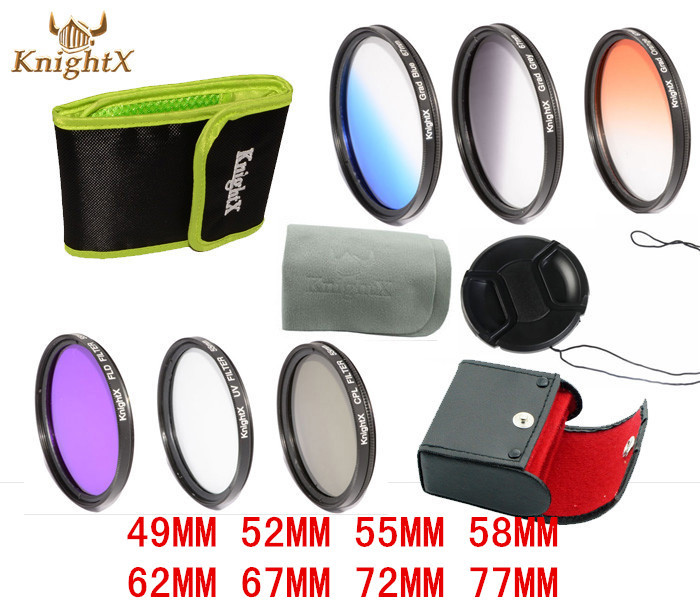KnightX CPL UV Filter Graduated ND Color Lens set for Canon Nikon Sony DSLR SLR camera Lenses d90 6D camera 400D D3000 450D 5D