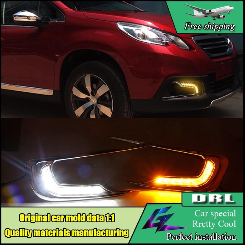 Car Styling LED DRL For Peugeot 2008 LED daytime running light 2014 2015 High brightness guide LED Fog Lamp DRL Daylight for nissan sunny 2008 2014 car styling high brightness led fog lights drl lights 1set