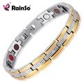 Rainso Brand Elegant  Silver Gold 316L Stainless Steel Magnetic 4 Health Elements Bracelets & Bangles for Women JEWAM408
