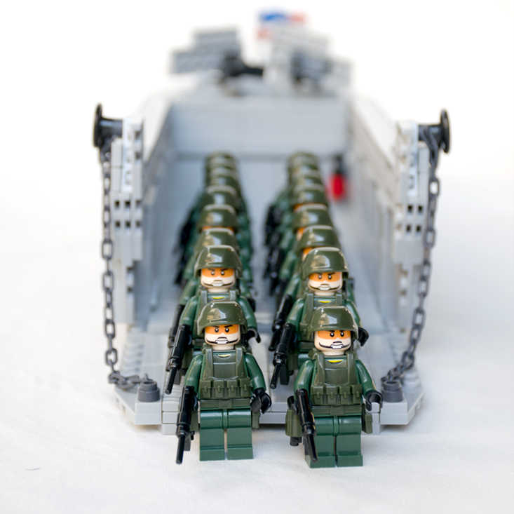 WW2 US Army Higgins Landing Craft Original Blocks Toy Swat Police Military Weapon Accessories Compatible Mini Figures Playmobil