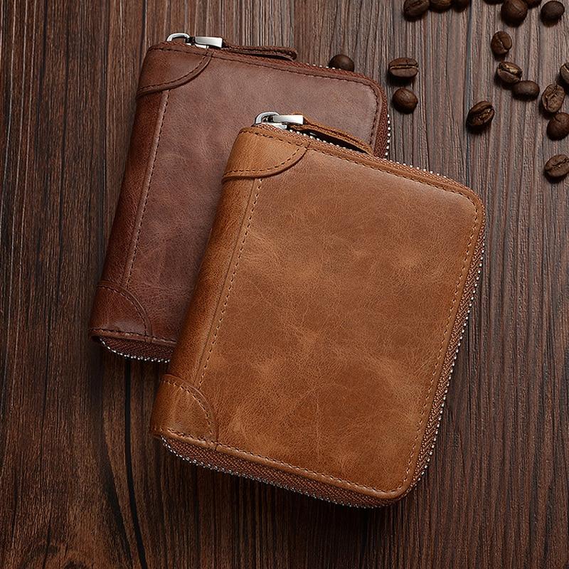 Mode zipper court hommes portefeuille RFID portefeuille en cuir vintage en cuir véritable portefeuille changement de poche marron haute qualité sac à main