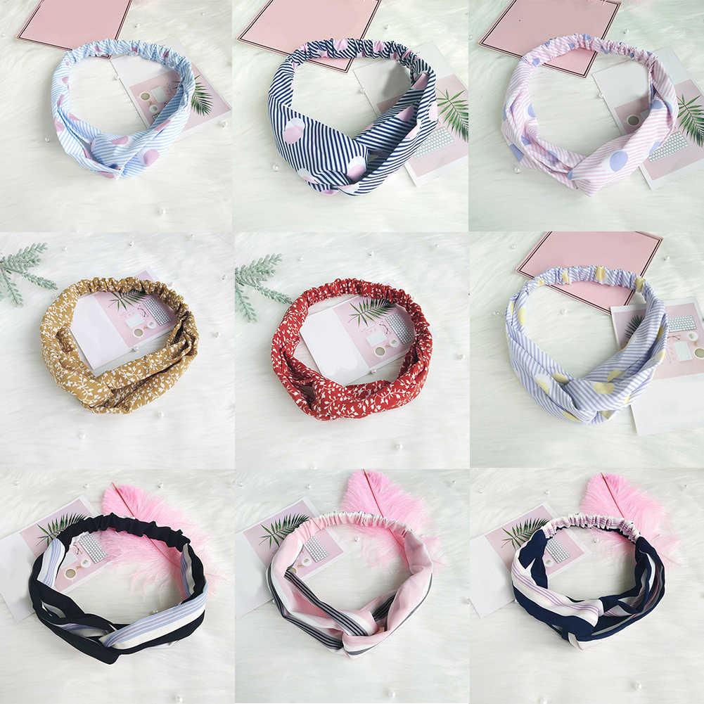 Модные повязки на голову с перекрестным узлом женские аксессуары для волос головная повязка для девочки буквы Шелковый, с принтом головные тканевые повязки для младенцев эластичная повязка