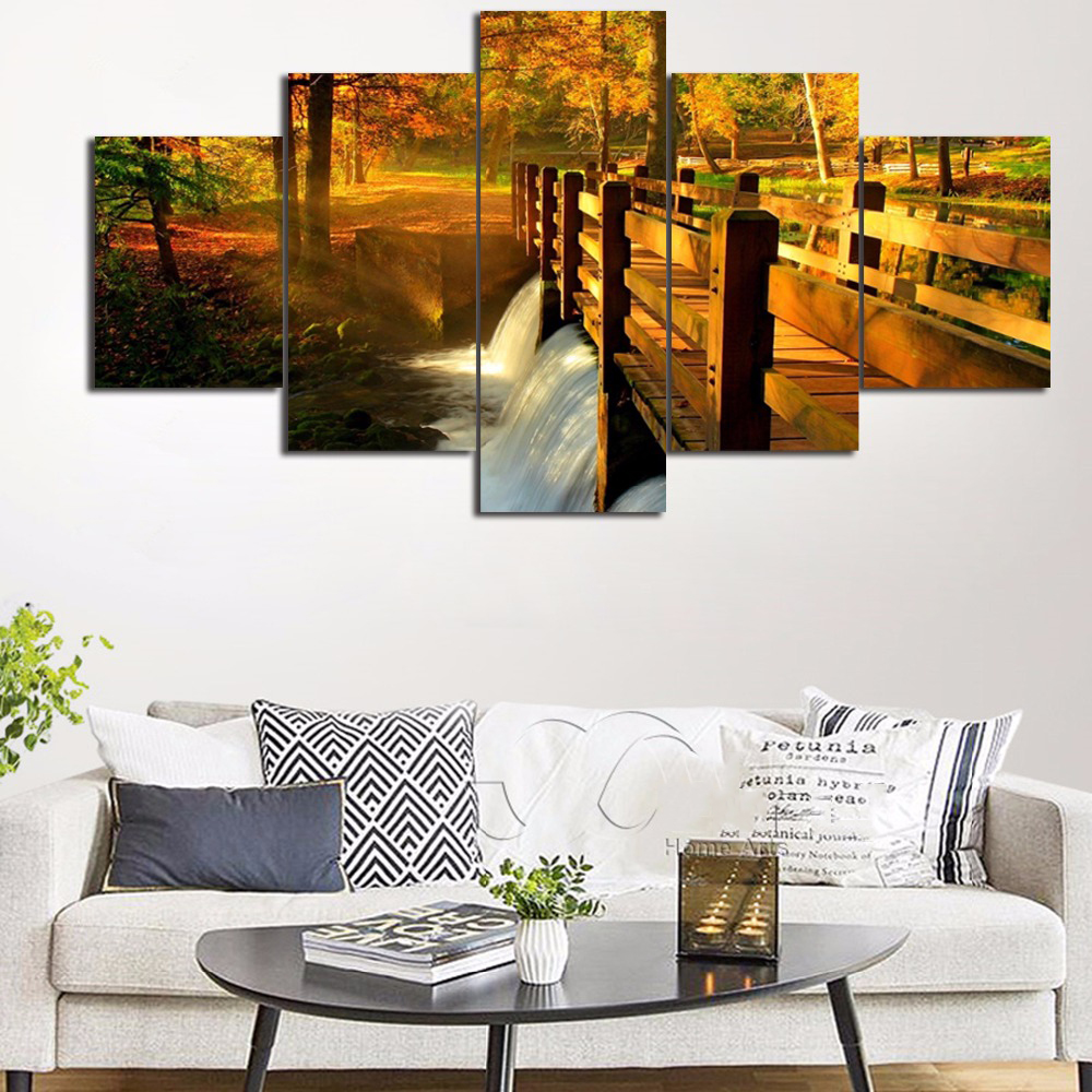 Wall art painting hd modular print poster home decor canvas 5 panel nature scenery river bridge view living room pictures frame in painting calligraphy