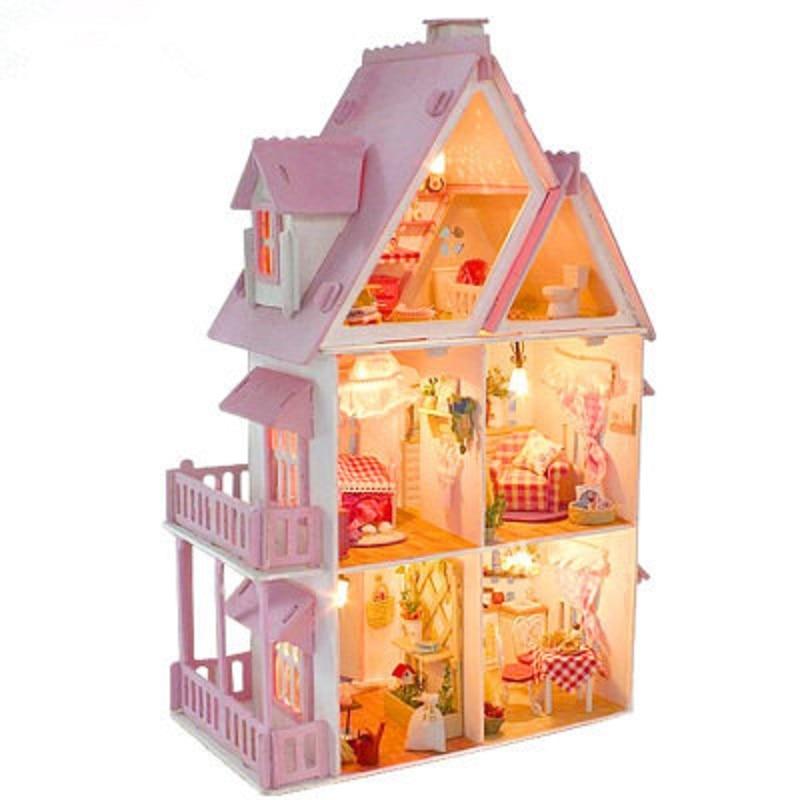 Girls Kids Childrens Wooden Nursery Bedroom Furniture Toy: Wooden Dollhouse Fashion Doll House Furniture Girls Toy