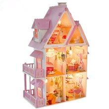 Rumah Boneka Kayu Boneka Fashion House Furniture Gadis Mainan Rumah DIY  Mainan untuk Anak Ukuran Besar Castle Buatan Tangan Ruma. c2afb1515a
