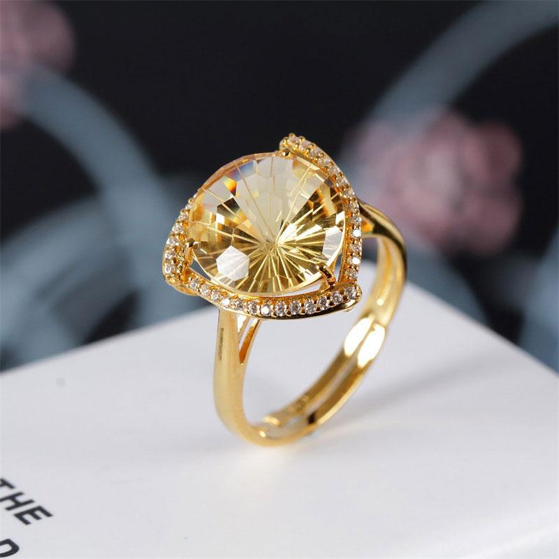 RADHORSE 925 bagues en argent pour femmes bijoux fins Citrine naturelle Sculpture ronde gemme anneau réglable couleur or
