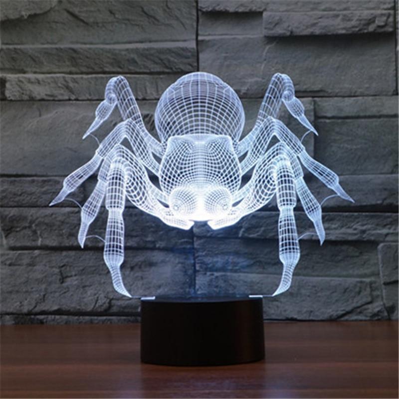 Luzes da Noite 3d ilusão lâmpada quarto casa Item : Frozen Spider 3d Night Lamp