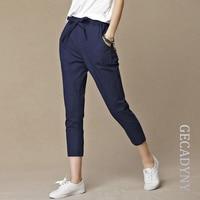 Free Shipping Women Loose Original Design Vintage Linen Female Dazzling Female Drawspring Pants Pure Capris Harem