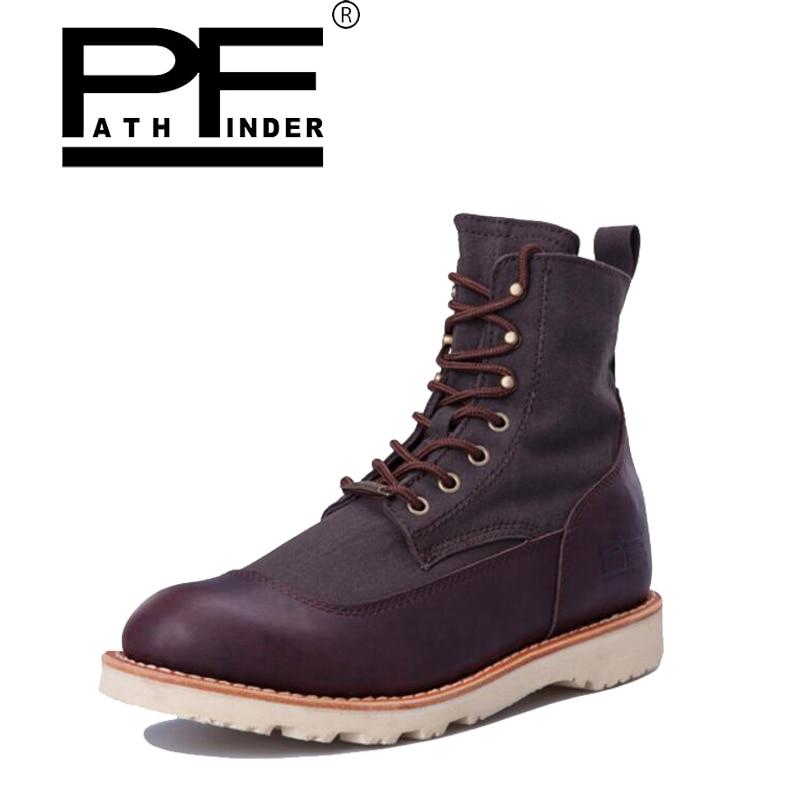 Pathfind Men Genuine Leather Martin winter boots Tooling military desert 2017 man army snow casual Shoes Retro punk botas hombre стоимость